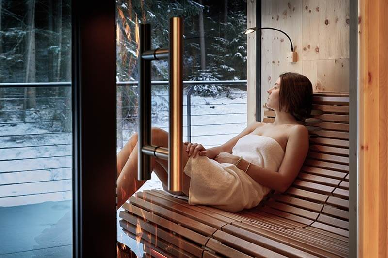 FOREST SAUNA A RAGGI INFRAROSSI, SPA LOUNGE, INDOOR PANORAMA RELAX ROOM